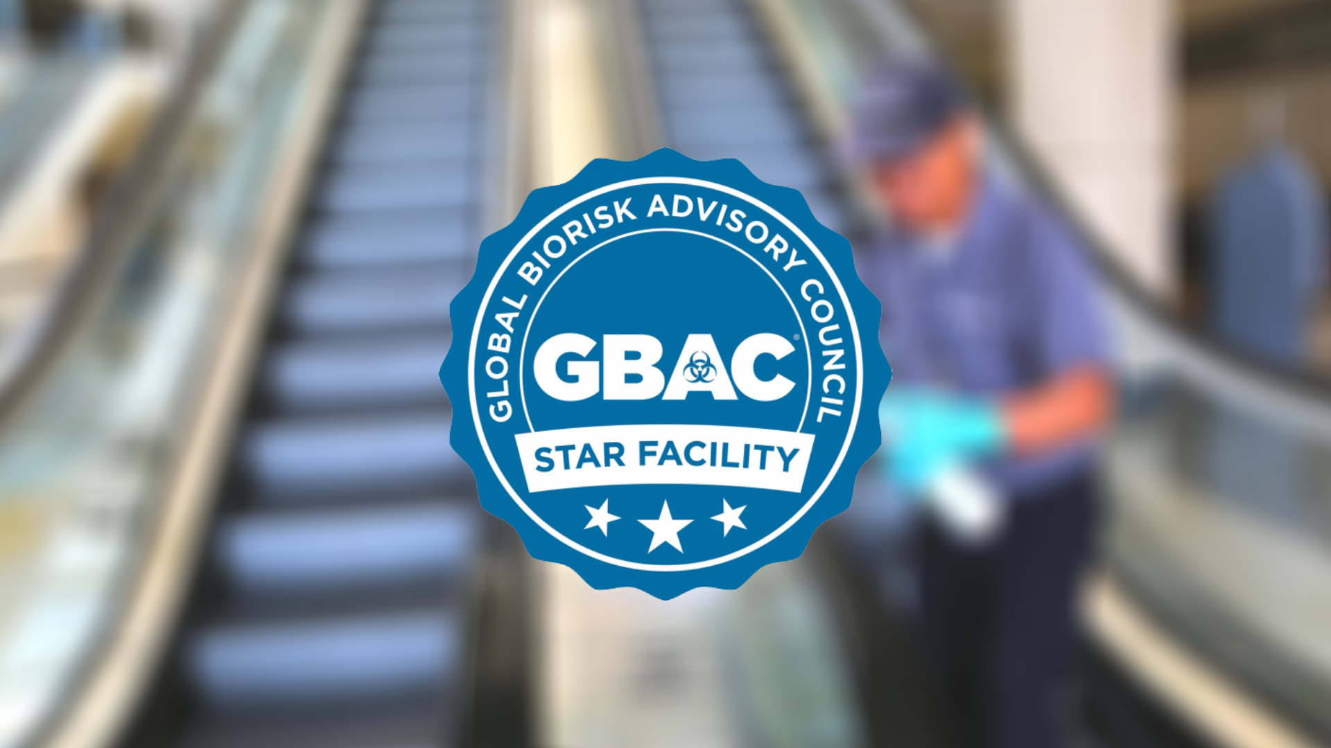 GBAC STAR logo on OCCC employee background